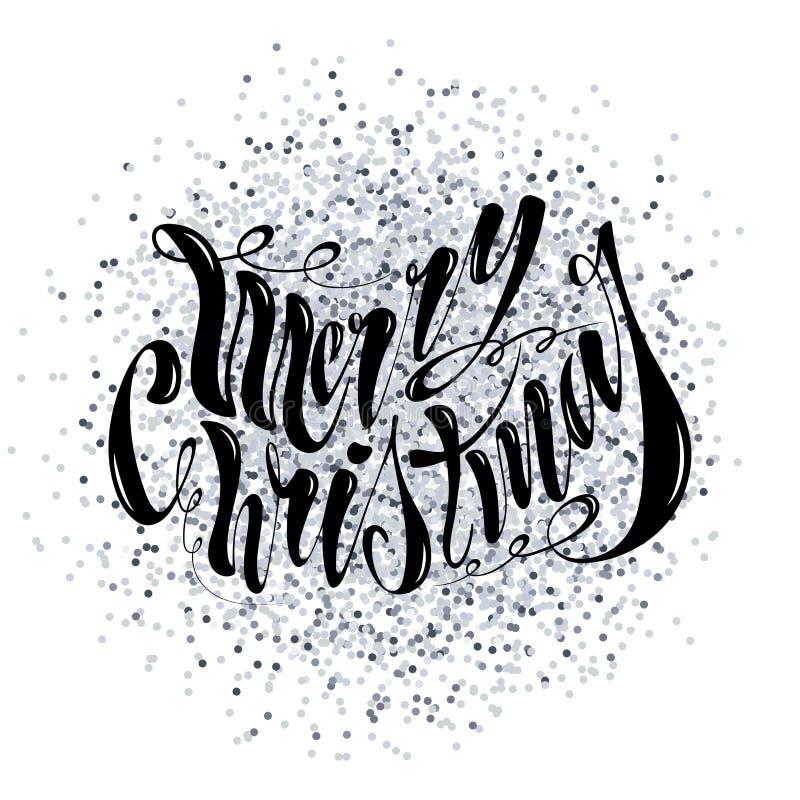 Joyeux Noël des beaux textes manuscrits Illustration de vecteur d'isolement sur le fond texturisé pour des cartes de voeux, label photographie stock