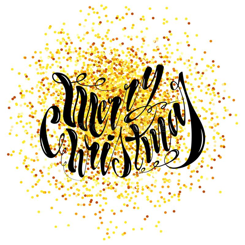 Joyeux Noël des beaux textes manuscrits Illustration de vecteur d'isolement sur le fond texturisé pour des cartes de voeux, label images libres de droits