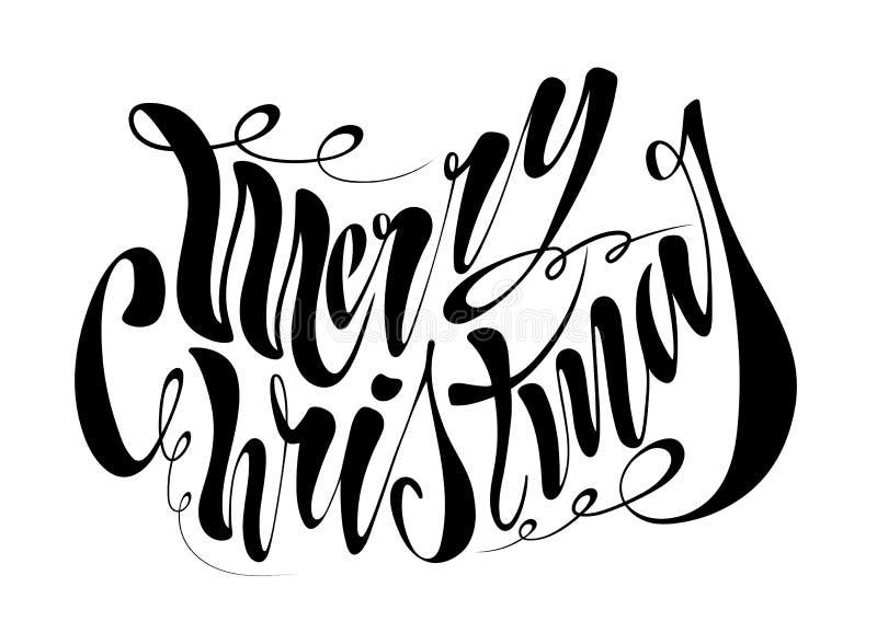 Joyeux Noël des beaux textes manuscrits Illustration de vecteur d'isolement sur le fond texturisé pour des cartes de voeux, label photographie stock libre de droits