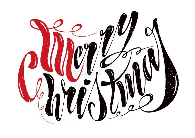 Joyeux Noël des beaux textes manuscrits Illustration de vecteur d'isolement sur le fond texturisé pour des cartes de voeux, label image stock