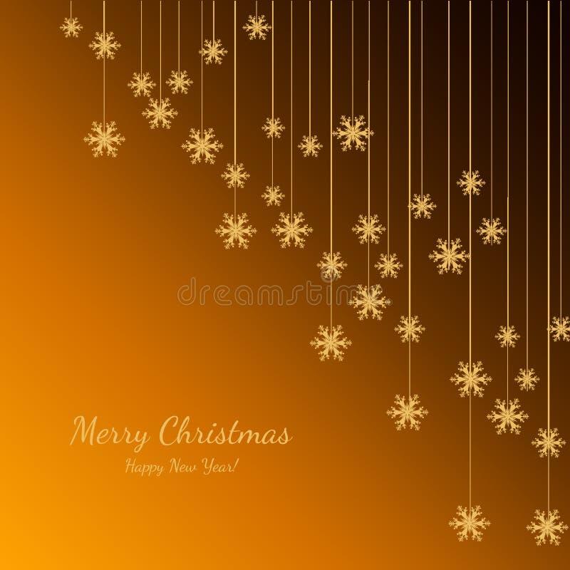 Joyeux Noël et bonne année avec des flocons de neige d'or Fond de vacances Conception décorative pour la carte, bannière, salutat illustration stock