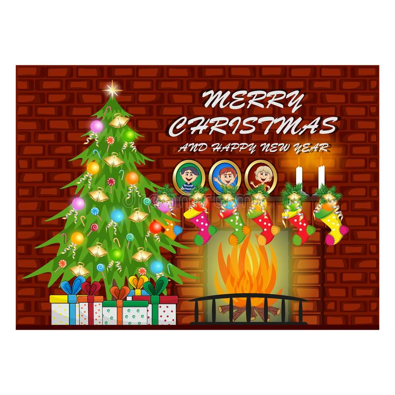 Joyeux Noël et bonne année avec l'arbre de cheminée et de Noël, mur de briques rouge illustration de vecteur