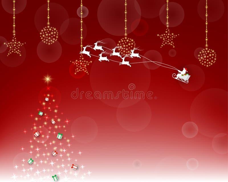 Joyeux Noël et bonne année avec le père noël sur le fond rouge illustration de vecteur