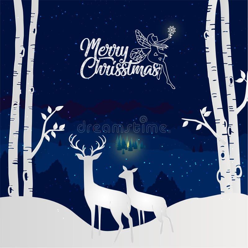 Joyeux Noël et bonne année avec le renne deux regardant le Dow illustration libre de droits