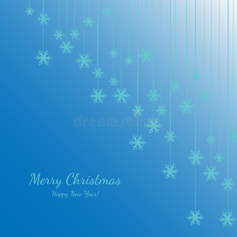 Joyeux Noël et bonne année avec les flocons de neige blancs Fond de bleu de vacances Conception décorative pour la carte, bannièr illustration de vecteur