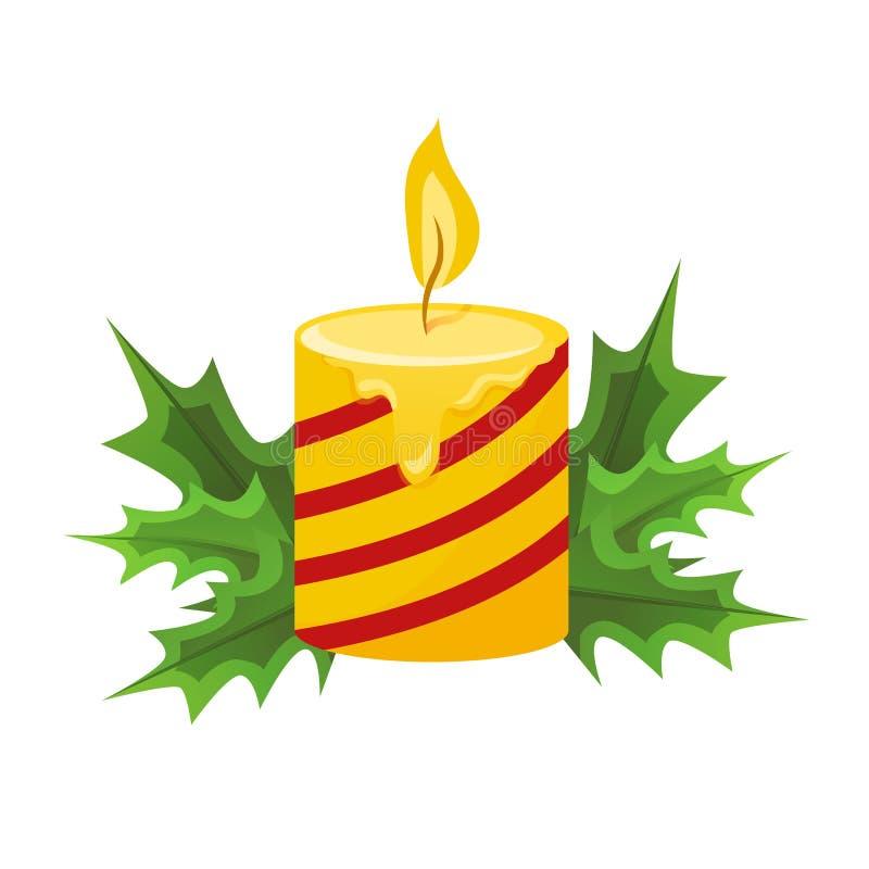 Joyeux Noël et bonne année Bougie de Noël avec la flamme illustration libre de droits
