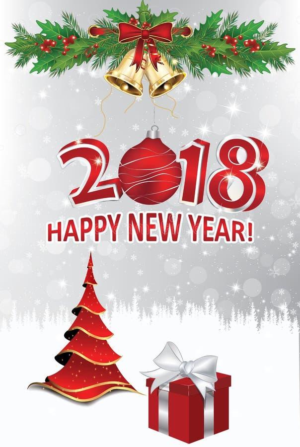 Joyeux Noël et bonne année 2018 ! Carte de voeux élégante d'entreprise illustration libre de droits