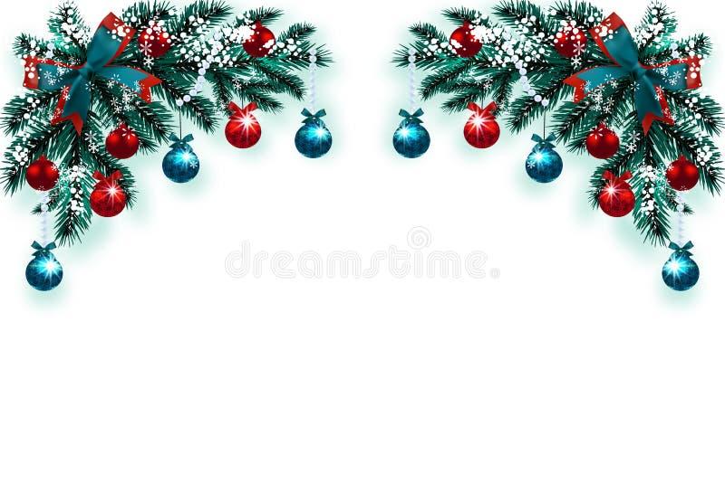 Joyeux Noël et bonne année Carte de voeux avec des décorations sur un arbre de Noël bleu dans la neige Dessin faisant le coin illustration stock