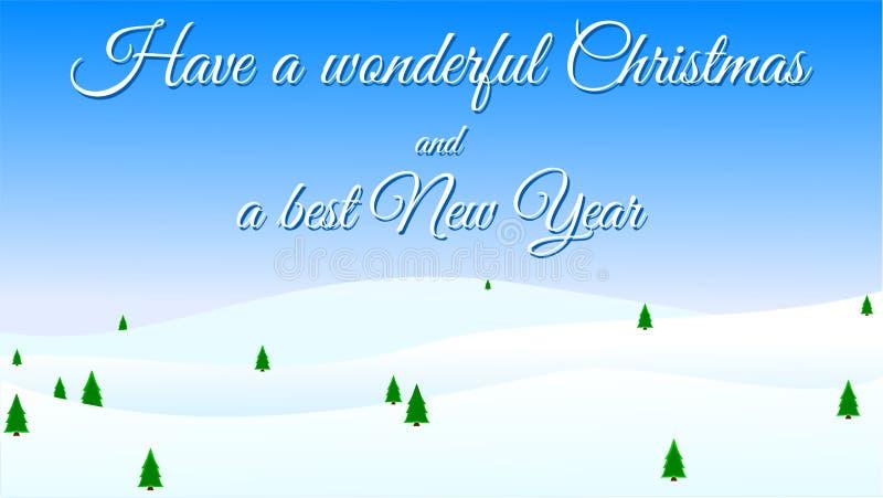 Joyeux Noël et bonne année - carte de voeux, neige et arbres de Noël illustration de vecteur