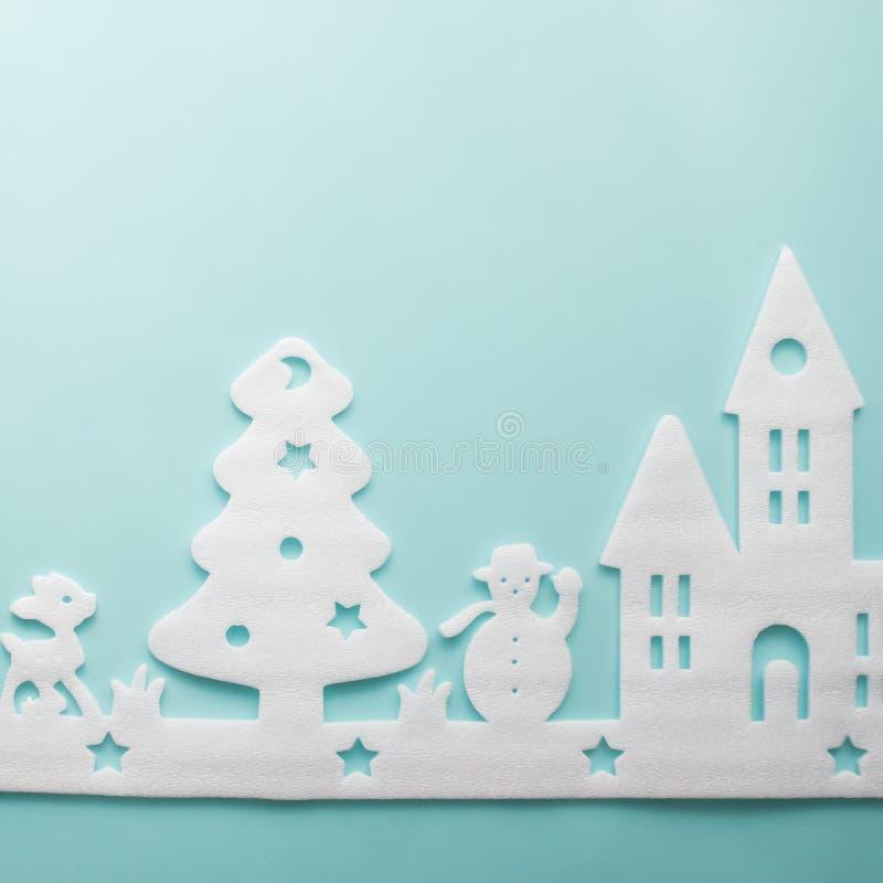 Joyeux Noël et bonne année Coupeur de mousse de ville, art et photo libre de droits