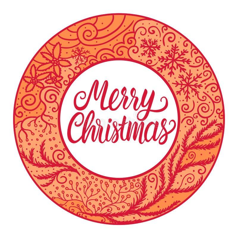 Joyeux Noël et bonne année de carte autour des ornements tirés par la main de couleur rouge de cadre Illustration de vecteur d'is illustration de vecteur