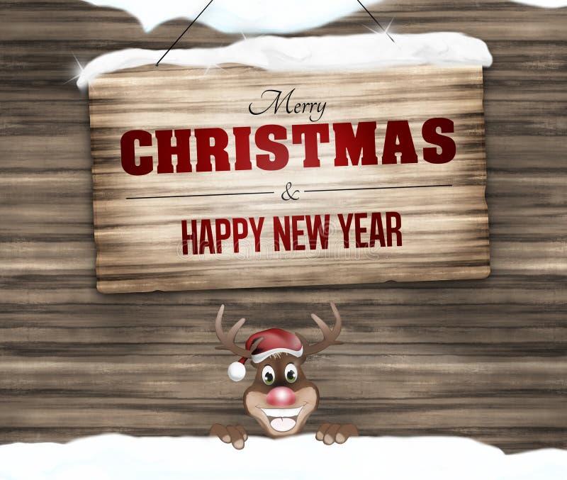 Joyeux Noël et bonne année de signe en bois image stock