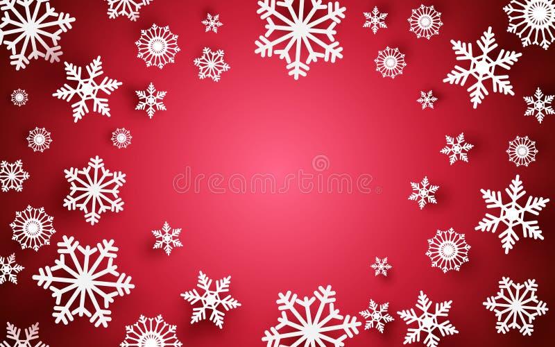 Joyeux Noël et bonne année Flocons de neige abstraits avec le cadre blanc sur le fond rouge illustration libre de droits