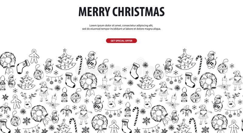 Joyeux Noël et bonne année Fond avec des éléments de griffonnage de Noël de main-aspiration Illustration de vecteur illustration de vecteur