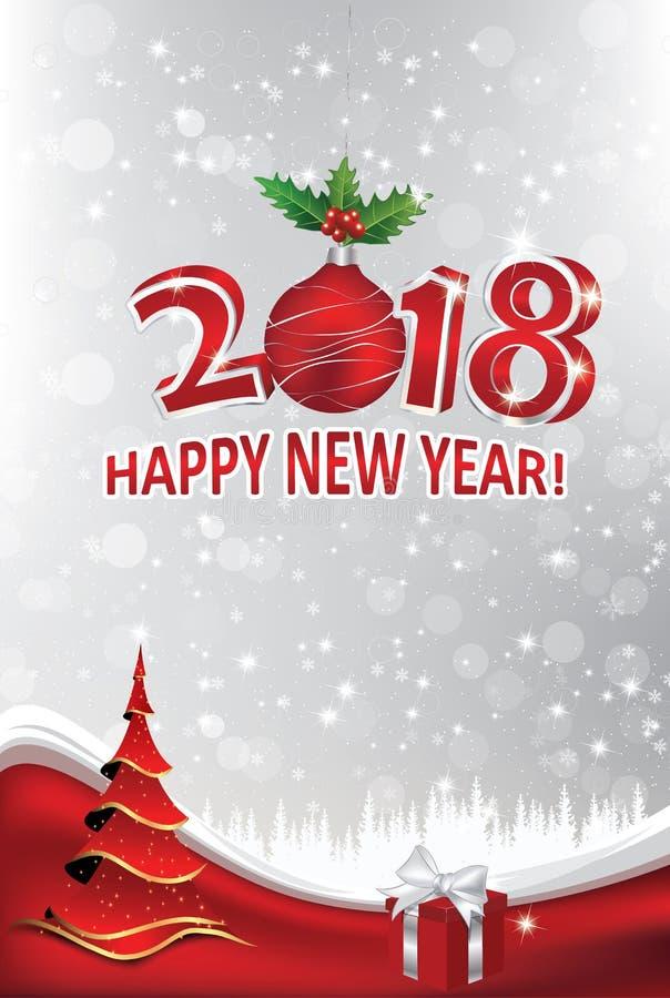 Joyeux Noël et bonne année 2018 ! Fond d'entreprise de style illustration libre de droits