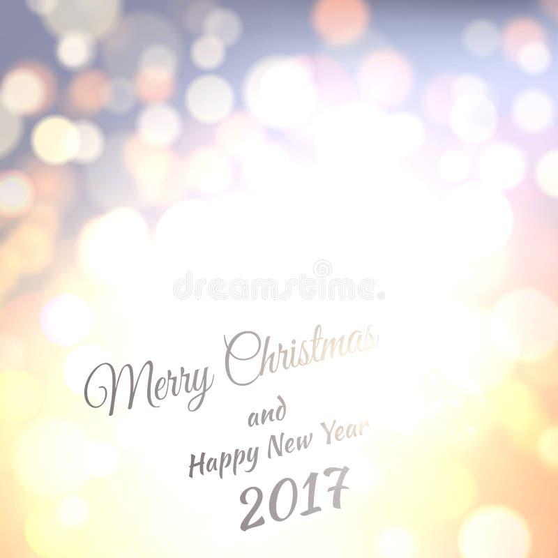 Joyeux Noël et bonne année 2017 Fond de bokeh de vecteur de vacances avec des lumières de lueur illustration stock