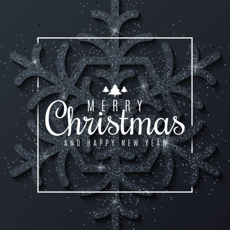 Joyeux Noël et bonne année Grand flocon de neige de luxe et brillant des scintillements sur le fond foncé cadre blanc Carte de vo illustration de vecteur