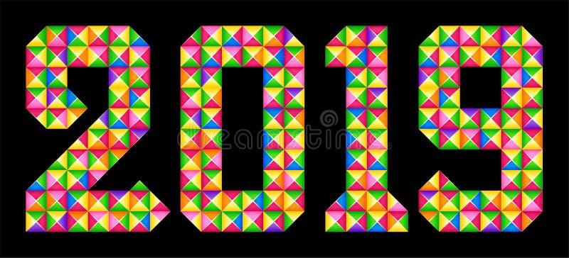 Joyeux Noël et bonne année La mosaïque colorée géométrique numéro 2019 illustration libre de droits