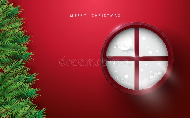 Joyeux Noël et bonne année le sapin s'embranche arbre et paysage d'hiver dans la fenêtre de cercle sur le fond rouge illustration stock