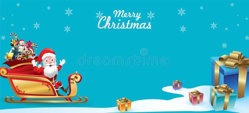 Joyeux Noël et bonne année Santa Claus est monte le traîneau de renne avec un sac de cadeaux dans la scène de neige de Noël Vecte illustration libre de droits