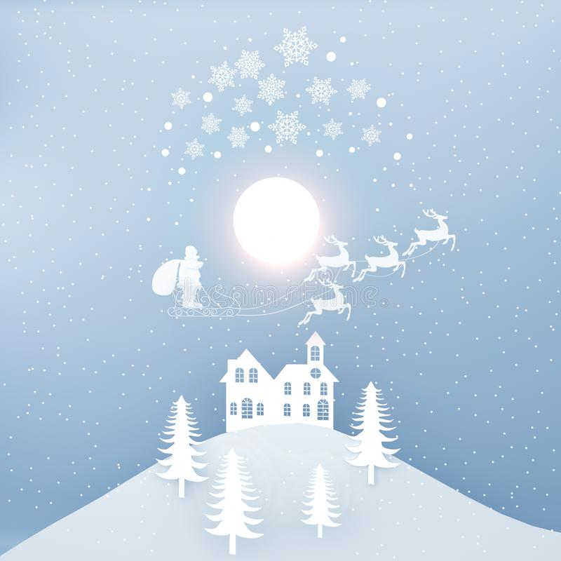 Joyeux Noël et bonne année Santa Claus sur le comin de ciel illustration stock