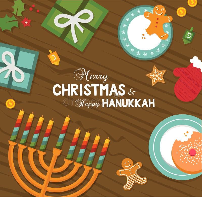 Joyeux Noël et célébration heureuse de Hanoucca
