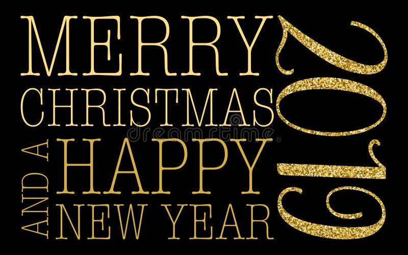 Joyeux Noël et carte de voeux 2019 de nouvelle année illustration stock