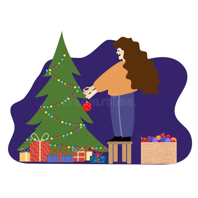 Joyeux Noël et Joyeuses fêtes Femme tenant une balle de fête Stand on Chair Decorure Christmas Tree Indoors Put ball on Xmas illustration stock