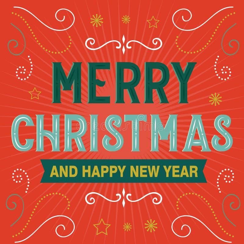 Joyeux Noël et Joyeux Nouvel An, lettre décorative, illustration vectorielle de style rétro illustration stock