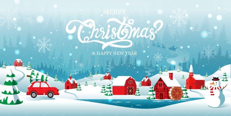 Joyeux Noël et Joyeux Nouvel An, ville natale dans la forêt, hiver Contexte, neige, paysage illustration libre de droits