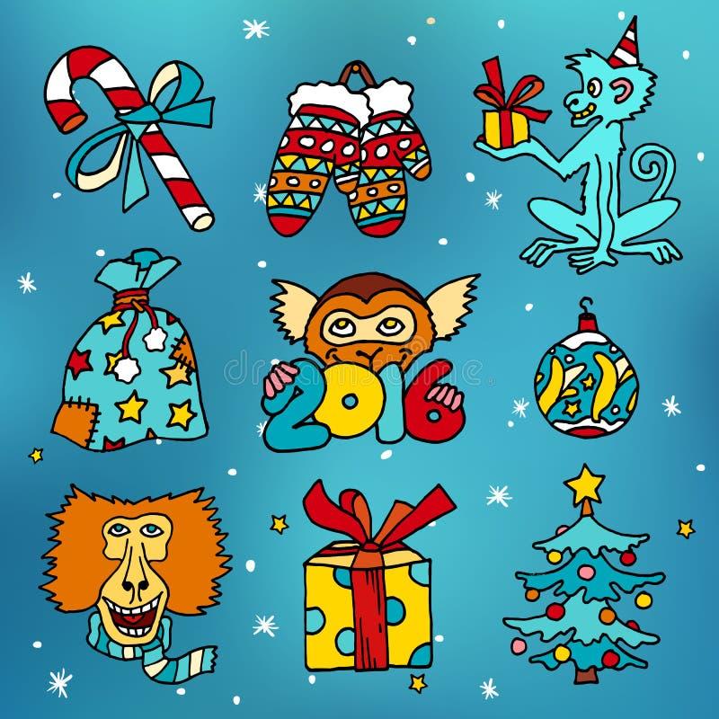 Joyeux Noël et nouvelles icônes heureuses de vecteur de bande dessinée de 2016 ans avec des singes et des présents illustration libre de droits