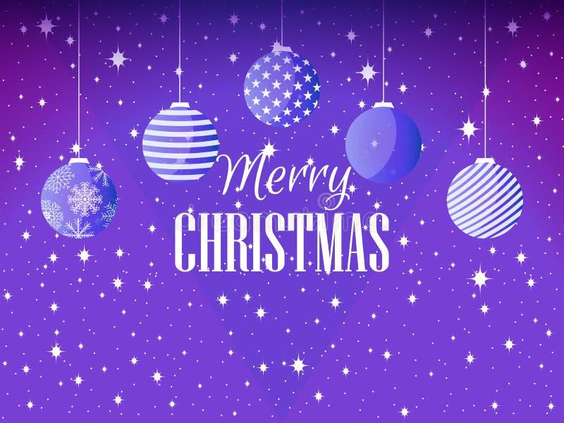 Joyeux Noël Fond avec des boules et des flocons de neige de Noël Vecteur illustration de vecteur