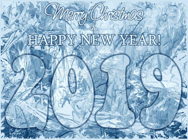 Joyeux Noël gelé et nouveau fond de 2019 ans illustration stock