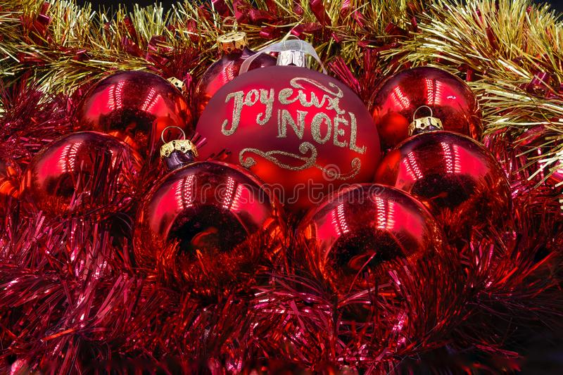 Christmas balls red and gold royalty free stock photo