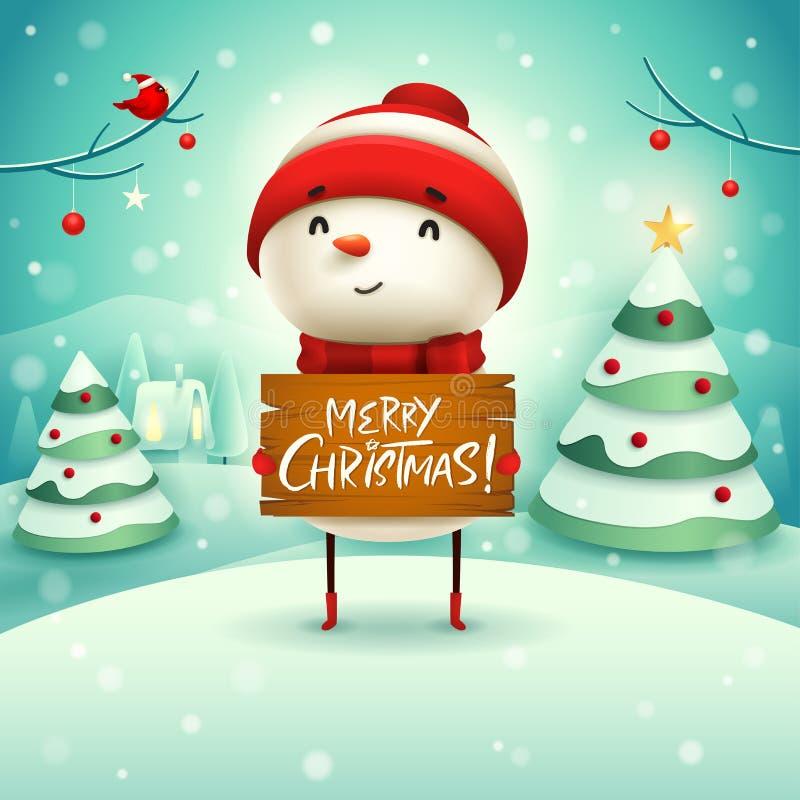 Joyeux Noël ! Le bonhomme de neige gai tient le conseil en bois signent dans le paysage d'hiver de scène de neige de Noël illustration stock