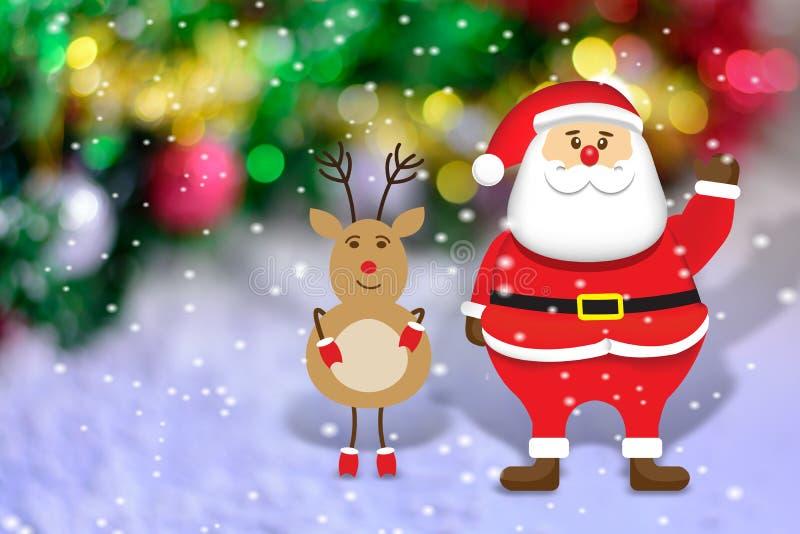 Joyeux Noël le père noël avec de petits cerfs communs illustration stock