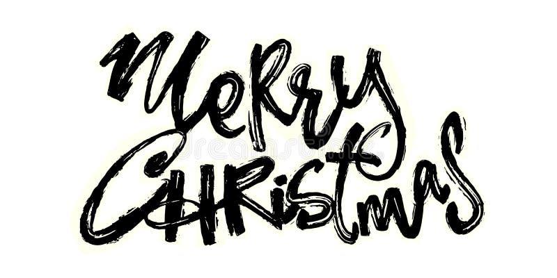 Joyeux Noël Lettrage tiré par la main de vacances de Noël illustration libre de droits