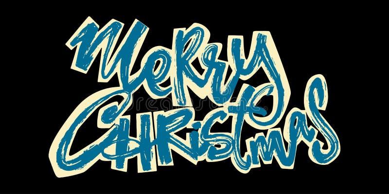 Joyeux Noël Lettrage tiré par la main de vacances de Noël illustration stock