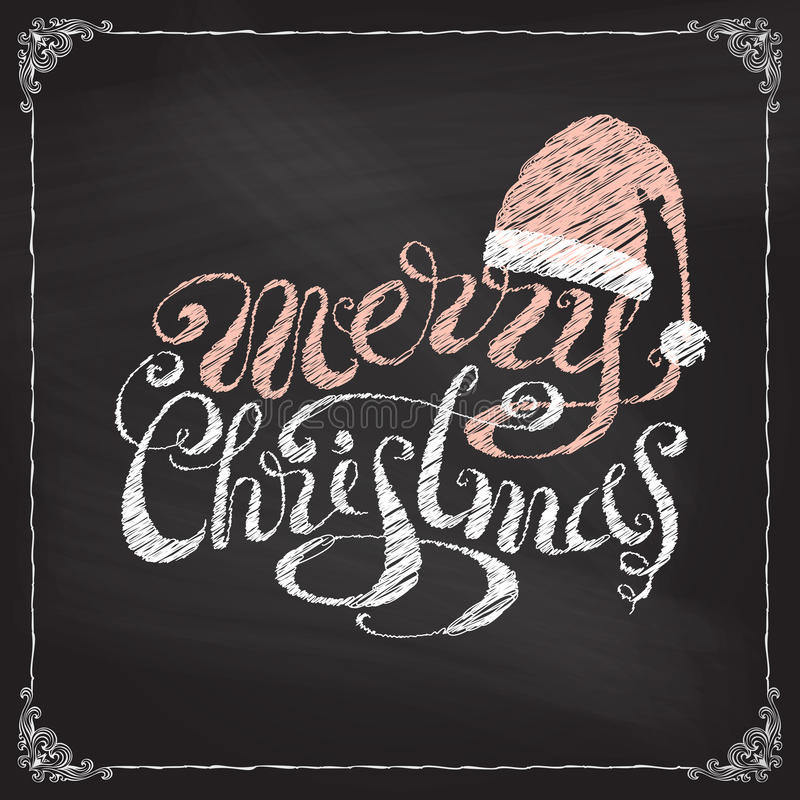 Joyeux Noël manuscrit sur le fond de tableau noir illustration stock