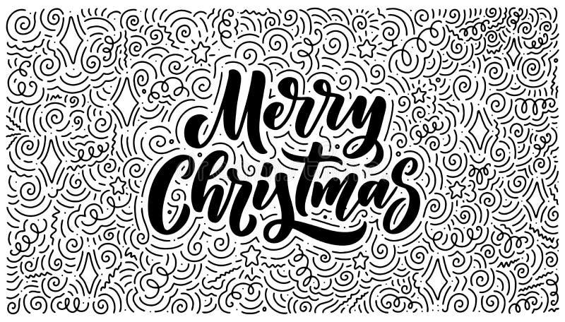 Joyeux Noël marquant avec des lettres à disposition le style tiré Fond de griffonnage R?tro symbole classique Carte de voeux de v illustration de vecteur