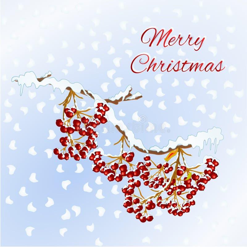 Joyeux Noël marquant avec des lettres la conception de célébration de vacances de nouvelle année avec les baies rouges de sorbe s illustration stock