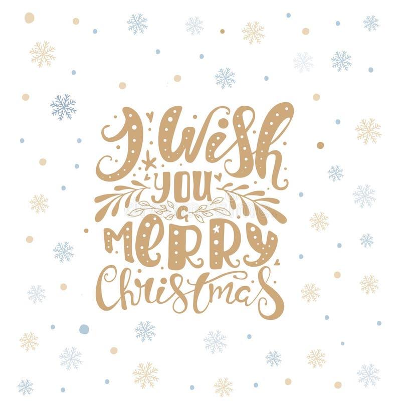 Joyeux Noël marquant avec des lettres plus d'avec des flocons de neige Texte tiré par la main, illustration libre de droits