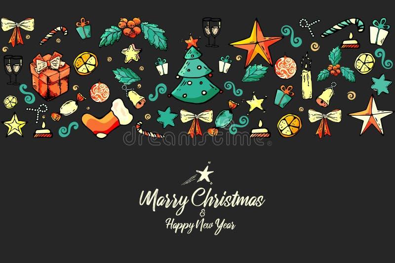 Joyeux Noël misterlet, cadeau, sapin, étoile, chaussette, sucrerie, cloche, arc Décoration de cru Saison des vacances illustration libre de droits