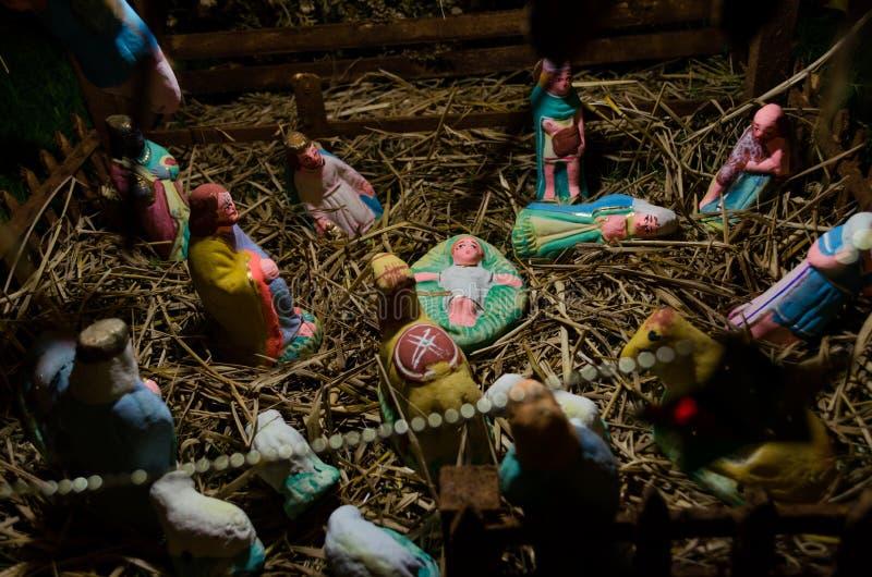 Joyeux Noël, nativité de huche de Jésus photo libre de droits