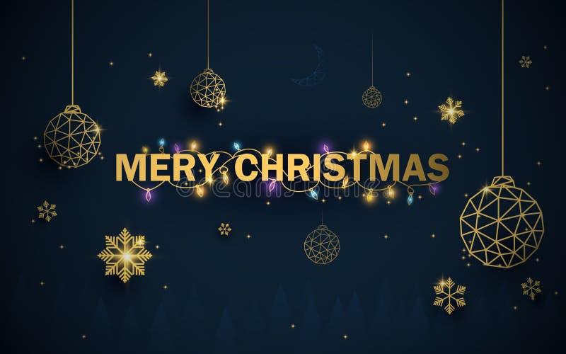 Joyeux Noël An neuf heureux Boules de luxe de Noël d'or avec les flocons de neige et le fond d'étincelles illustration libre de droits