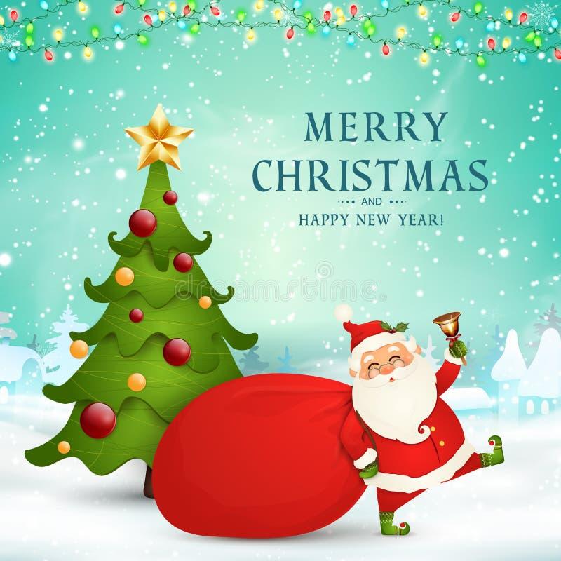 Joyeux Noël An neuf heureux Santa Claus mignonne avec le sac rouge, arbre de Noël, tintement du carillon dans la scène de neige d illustration stock