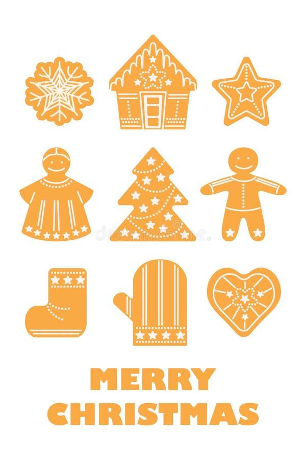 Joyeux Noël, nouvelle année, ensemble traditionnel de biscuits de vacances d'hiver illustration de vecteur