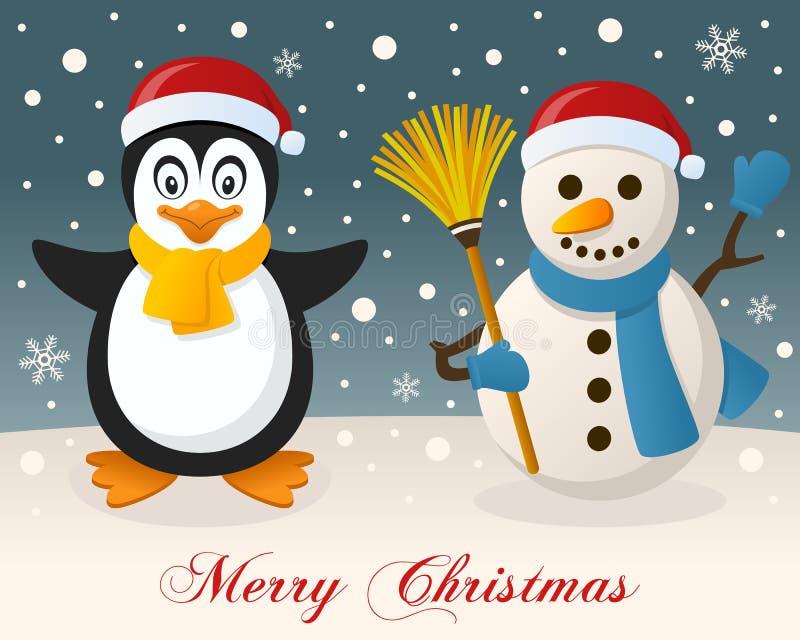 Joyeux Noël - pingouin et bonhomme de neige mignon illustration libre de droits