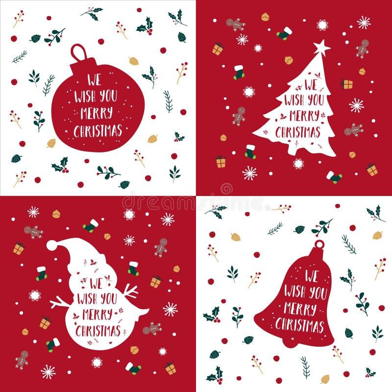 Joyeux Noël Salutation Bundle Silhouette Vector illustration de vecteur