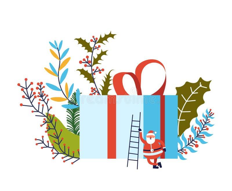 Joyeux Noël, Santa Claus avec la grande boîte actuelle illustration libre de droits